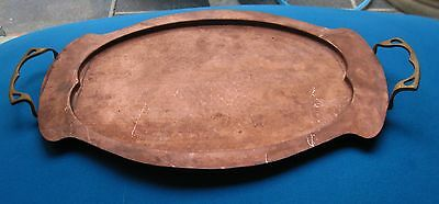 Antique Arts & Crafts Hand Beaten Copper & Brass Serving Tray