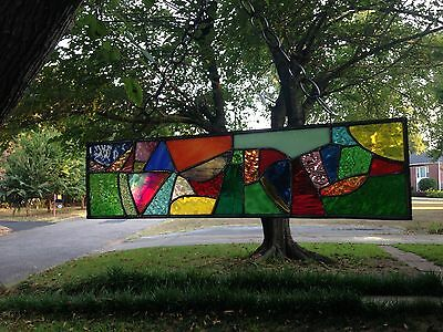 Abstract Stained Glass Window Panel Suncatcher in Stunning Colors&Textures 20x5
