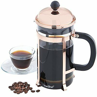 VonShef 8 Glass French Press Cafetiere Coffee Maker 1 Liter - Copper