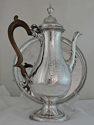 A Rare George III Solid Silver Coffee Pot and Tray Set, Hester Bateman