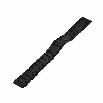 Black 22mm Stainless Steel Burnish Buckle WatchBand For Pebble Time/Pebble Time