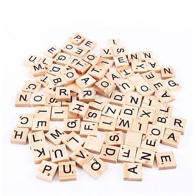 100 Wooden Scrabble Tiles Alphabet Black Letters & Numbers For Crafts Wood