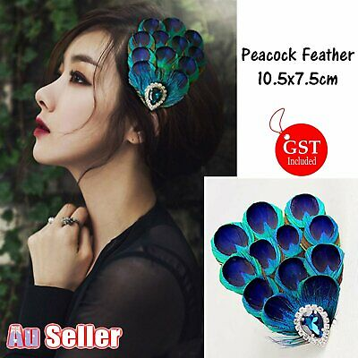 New 1X Peacock Feather Hairpin Hair Clip Crystal Party Wedding Headpiece DIY Dec