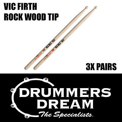 Vic Firth Rock Wood Tip Drumsticks 3 Pairs American Hickory Classic Drum Sticks