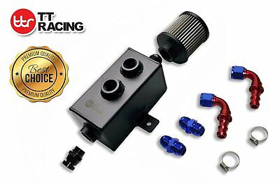 Universal 1L Aluminum oil catch can tank with breather & filter drain tap Black