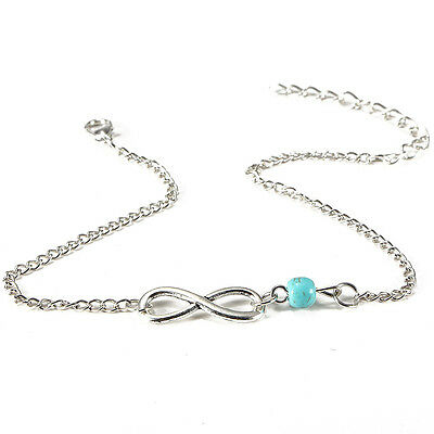 Ankle Bracelet Turquoise Bead Chain Infinity Anklet Woman Jewelry Gift BT