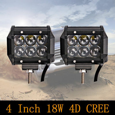 2x 4 inch 18W Led Work Light Bar Fish Eye 4D Jeep Ford F150 Driving Lamp 4WD UTE