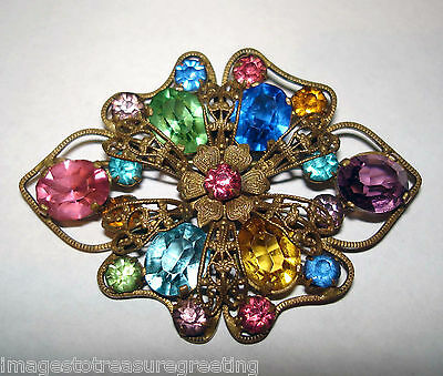 Attractive vintage Czech gold-tone metal & faceted coloured glass brooch