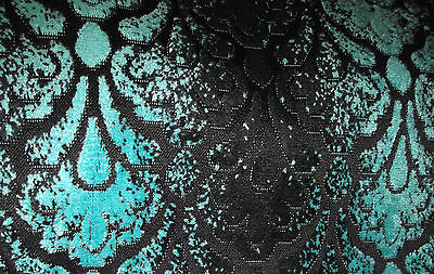 Art Deco Retro Style Chenille In Black & Teal   Quality Heavy Weight