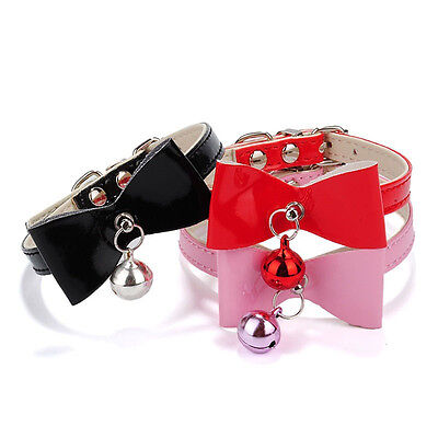 3 Colors PU Leather Bowknot Bell Cat Dog Necklace Puppy Collar Pet Supply
