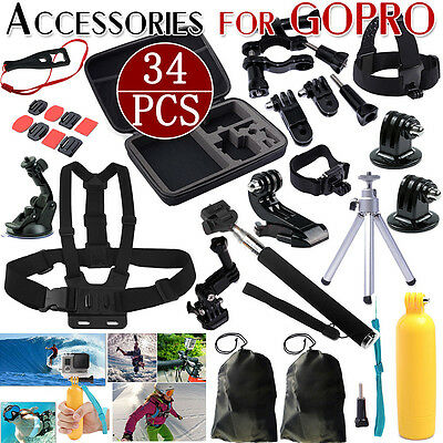 64in1 Head Chest Mount Floating Monopod Accessories Kit For GoPro 2 3 4 Camera Y