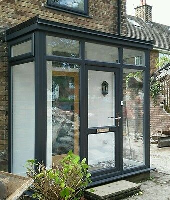 Upvc grey porch and front door double glazed liverpool for Double glazed porch doors
