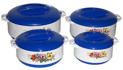 New Premium 4 Pack Hot Food Storage Round Insulated Casserole Hot Pot Blue Set