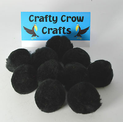 10 x LARGE BLACK 50mm POM POMS