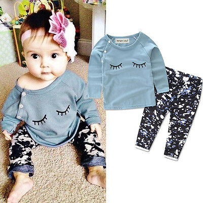 Toddler Kids Infant Baby Girls Autumn Outfit Clothes T-shirt Tops+Pants 2PCS Set