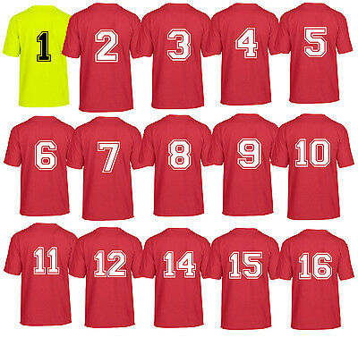 ADULTS MENS FOOTBALL TRAINING TOPS 15 sports kits numbered red yellow blue team