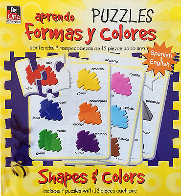 Bilingual Spanish & English Shapes & Colors Montessori Puzzles by BeOne