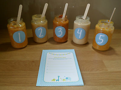 BABY SHOWER GAME blue guess the baby food jar food for baby boy shower