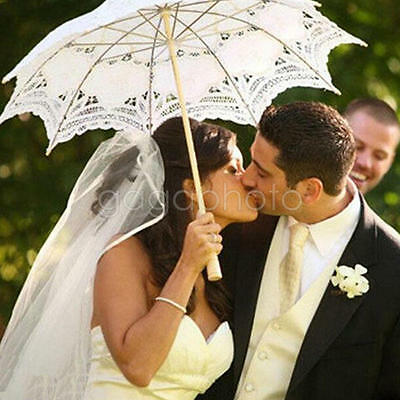 Fashion White Lace Embroidered Parasol Umbrella Bridal WeddingParty Decor 23inch