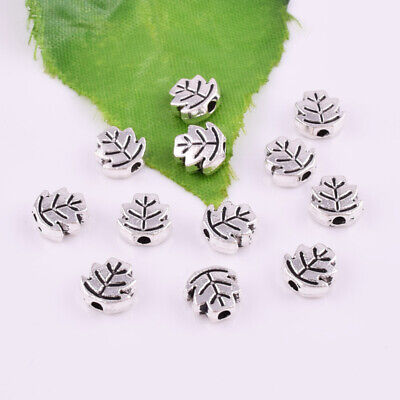 Tibetan Silver Leaf Spacer Beads Loose Charm DIY Craft Jewelry Findings 7.5x3mm