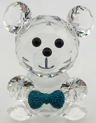 CRYSTAL TEDDY BEAR BLUE OR RED BOW - Baby Boy Girl - Collectable Gift