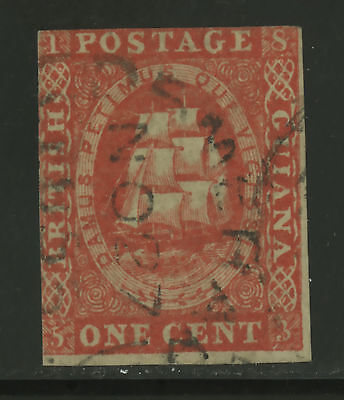 British Guiana  1853  Scott #  8  USED - Tiny Thin