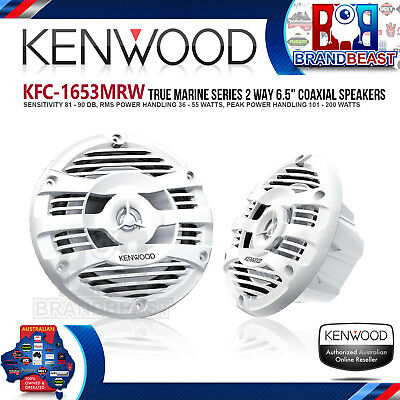 "Kenwood Kfc-1653mrw  Marine 6.5"" 2-way 150w Speakers Boat Audio White Grilles"
