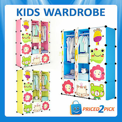 Kids Wardrobe Bedroom Storage Unit Cabinet Clothes Toy Organiser Rack Book Shelf