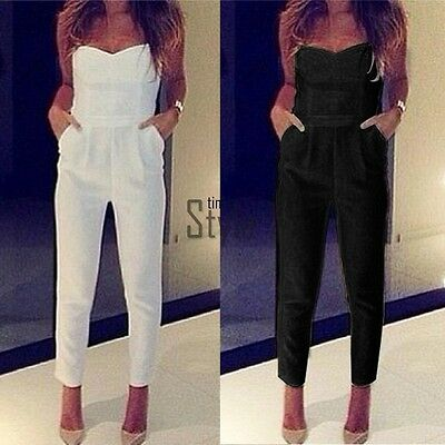 Women Ladies Backless Clubwear Playsuit Bodycon Party Jumpsuit Trousers UK 6-14