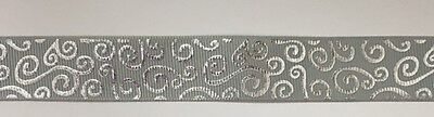 "Light Grey with silver Foil Swirl 7/8"" Printed Grosgrain  Ribbon 1m"