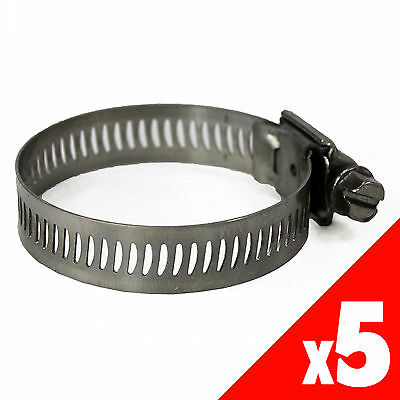 Worm Gear Hose Clamp 48-127mm OD Range STAINLESS STEEL x5