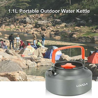 1.1L Portable Outdoor Camping Coffee Pot Water Kettle Teapot Aluminum DL R8R6