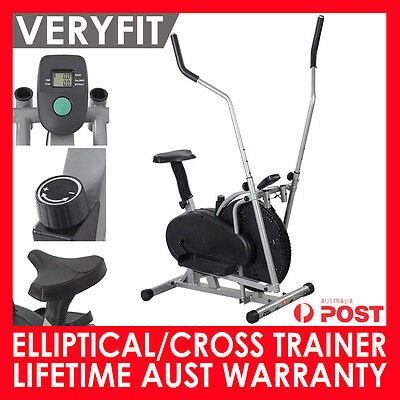 2 In 1 Elliptical Cross Trainer Exercise Bike Home Gym Fitness Workout Machine