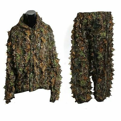3D Leaf Adults Ghillie Suit Woodland Camo/Camouflage Hunting Deer Stalking in BT