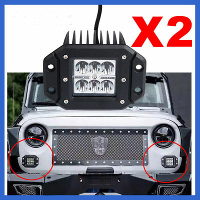 2x 18W 4 INCH SPOT CREE FLUSH MOUNT 3X3 LED WORK LIGHT BAR OFFROAD JEEP TRUCKS