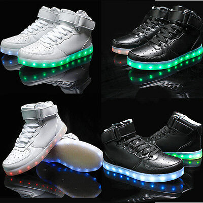 Unisex 7 LED Light USB Lace Up Sneakers Sportswear White Luminous Casual Shoes
