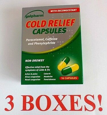 COLD RELIEF CAPSULES decongestant colds and  flu 4 BOXES of 16 = 64 capsules
