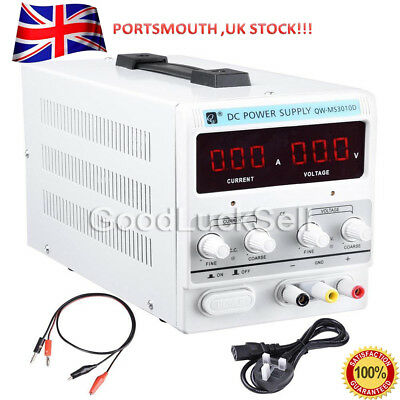 30V 10A DC Power Supply Precision Variable Digital Adjustable Clip Cable UK FAST