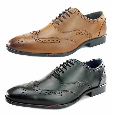 52f4b72f2f8f3 Silver Street Oxford Formal Brogues Lace Up Round Mens Leather Shoes Tan  Black