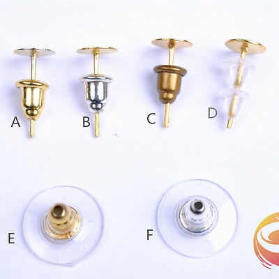 100/100 Pieces 6 Style Earring Stopper Plug Jewelry Making For Earrings stud