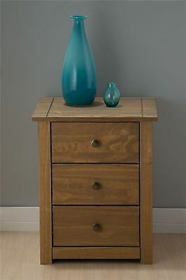 Mexico 3 Drawer Bedside Cabinet Table Corona Mexican Pine Solid Wood Furniture