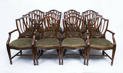 Fabulous Set 12 English Hepplewhite Style Dining Chairs