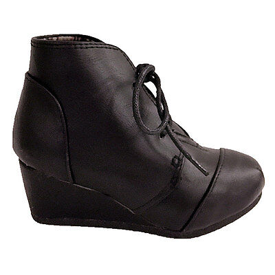 Forever Link New Girl Patricia-11K Leatherette Tailored Oxford Wedge Ankle Boot