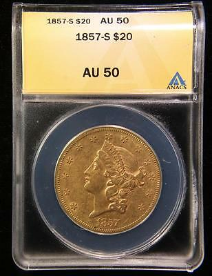 1857 S $20 Double Eagle Us Gold Better Date Coin Anacs Au 50 *rare Variety* (72)