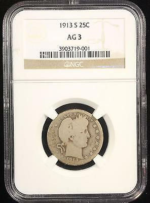 1913 Barber Silver Quarter Ngc Ag 3 Key Date Us Coin