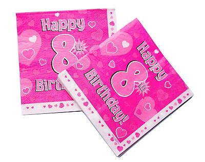 Happy 8th Birthday Paper Napkins 16 Pack Girl Party Decorations Table Lunch