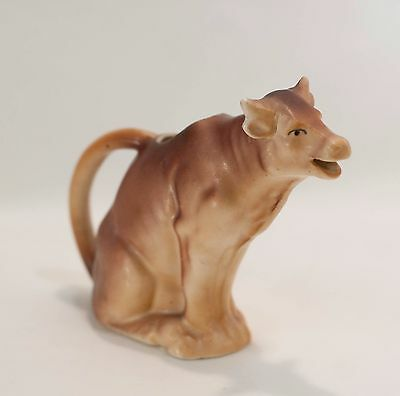 Cow Creamer Sitting Brown Cow Made in Czecho-Slovakia