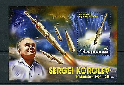 Antigua & Barbuda 2016 MNH Sergei Korolev Rocket Launch 1v S/S Space Stamps