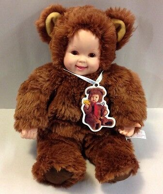"Anne Geddes Plush Brown Eyes Teddy Bear 14"" Baby Doll 1997 Toy"