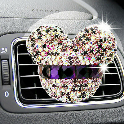 Car Bling Women Girls Diamond Mickey Mouse Air Freshener Perfume Vent Flavoring